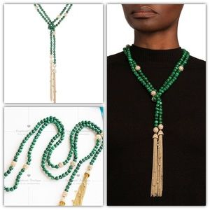 Alexis Bittar Malachite Sautoir Tassel Necklace